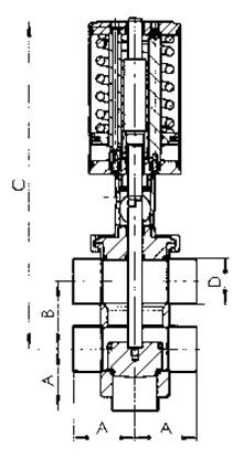 Седельный клапан передвижной тип TT, пневматический.